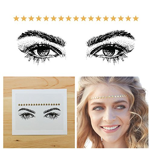 [Tattify Bindi Festival Gold Star Colorful Temporary Face Rocks - Alternative - Other Styles Available Fashionable Temporary Rhinestone Gem Face Jewel Stickers - Long Lasting] (Sugar Skull Makeup Ideas)