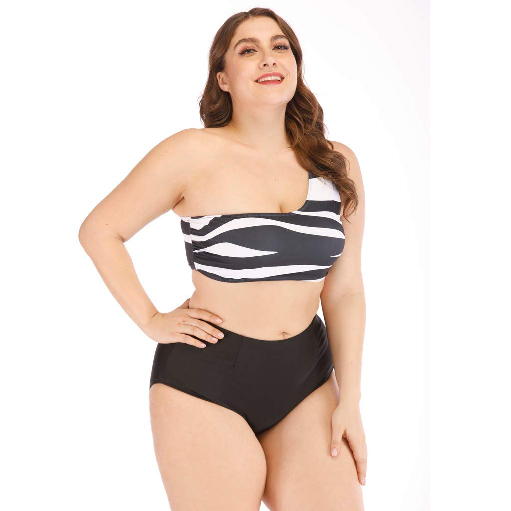 95ac4b0c9c Amazon.com  2 PCS Plus Size Swimsuit Women Black and White Striped Tankini  Girls Bathing Suit Halter Swimwear  Clothing