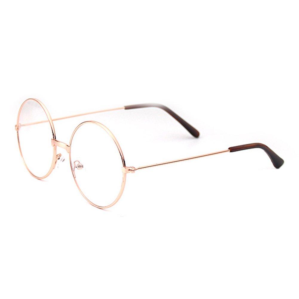 Mädchen Junge Brillen - Rund Retro Stil Brille Metall Brillenfassung Transparente Linsen Lesen Gläser für Baby Kinder Unisex X170929ETYJJ0401-ka