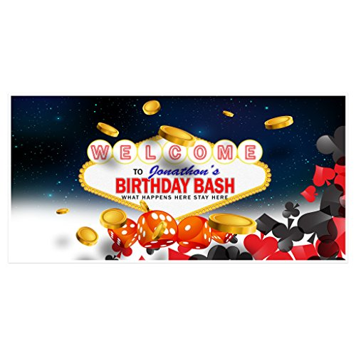 Las Vegas Birthday Banner Personalized Custom Party Backdrop Decoration (Las Vegas Birthday)