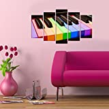 LaModaHome Decorative 100% MDF Wall Art 5 Panels (43'' x 24'' Total) Ready to Hang Painting Colourful Shape Piano Music Play Dance