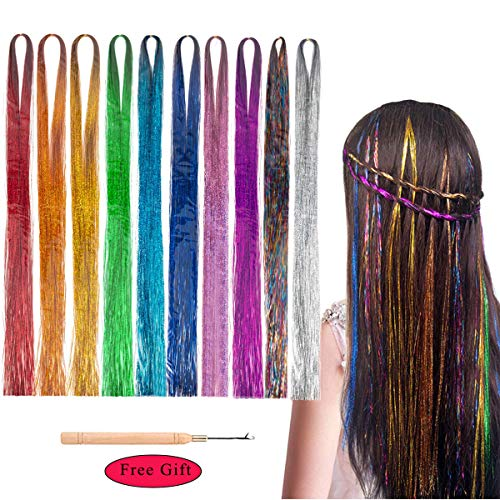 Kyerivs Hair Tinsel Sparkling Shiny Hair Tinsel Extension 6000 Strands Mermaid Fairy Hair Tinsel Kit 10 colors Synthetic Highlights Glitter Rainbow Hairpieces 47'' 10 packs