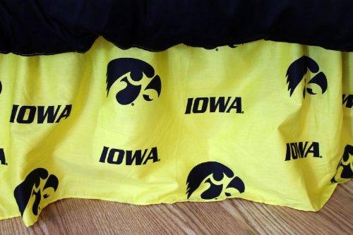 College Covers Iowa Hawkeyes Printed Dust Ruffle, (Iowa Full Bedskirt)