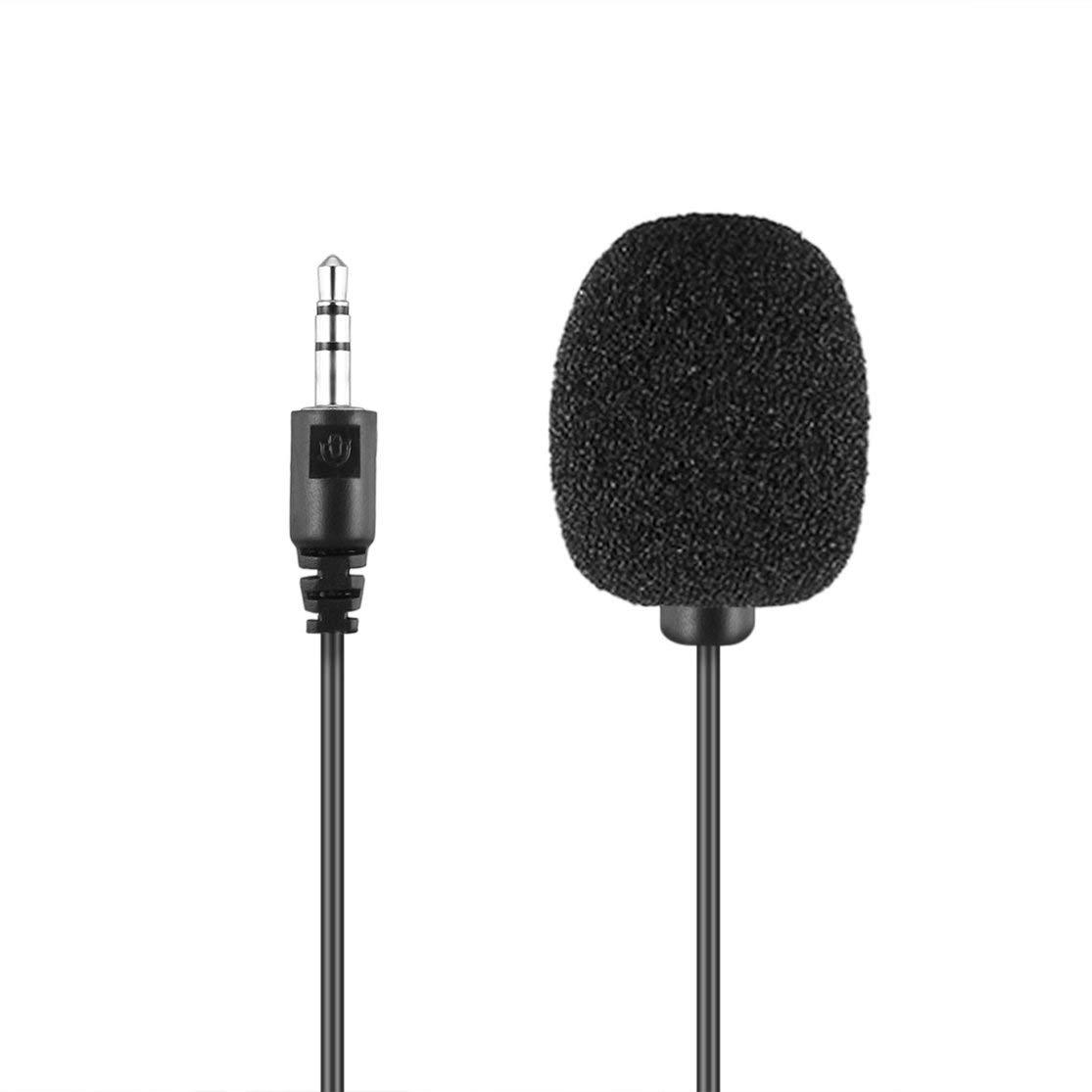 Tragbare Externe 3,5mm Freisprecheinrichtung Mini Wired Collar Clip Revers Lavalier Mikrofon F/ür PC Laptop Lound Lautsprecher