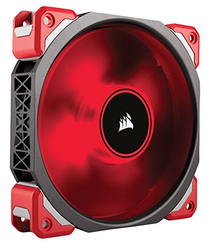 Corsair CO-9050042-WW ML Series ML120 LED Premium PC-Gehäuselüfter mit Magnetschwebetechnik, 120 mm, Rote LED, schwarz/rot
