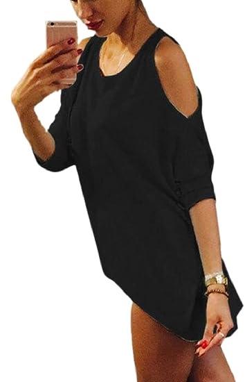 1a0533fd82e67 GAGA Womens V Neck Cold Shoulder Blouse Long Sleeve High Low Tunic Tops  Black XS