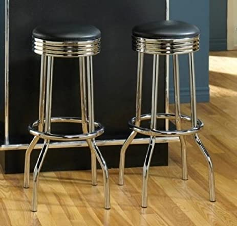 Pair of Retro Polished Chrome Swivel Bar Stools & Amazon.com: Pair of Retro Polished Chrome Swivel Bar Stools ... islam-shia.org