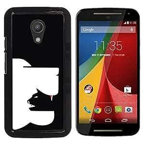 YOYOYO Smartphone Protección Defender Duro Negro Funda Imagen Diseño Carcasa Tapa Case Skin Cover Para Motorola MOTO G 2ND GEN II - arte inteligente perro gato moderna en yang negro