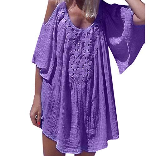(Women's Fashion Dresses Summer Cold Shoulder Half Sleeve Mini Dress Casual Bohemian Swing Ruffle Ruched Midi Dress (Purple, M))