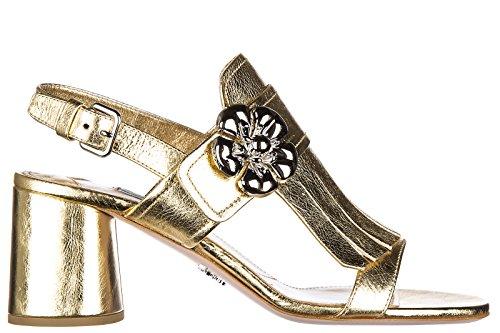 Prada sandali donna con tacco pelle shine oro