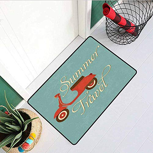 1960s Decorations Commercial Grade Entrance mat Summer Travel Scooter Vacation Vespa Classic Wheels Rock Cool Cycle Hippy Motorbike Design for entrances garages patios W23.6 x L35.4 Inch -