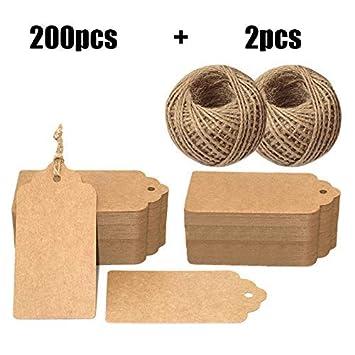 200Stk kraftpapier Etiketten Tags 5CM *10CM Geschenkanh/änger Anh/änger Etiketten mit Jute-Schnur 30 Meter