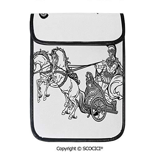 SCOCICI Protective Storage Carrying Sleeve Case - Roman Warrior in A Chariot Pulled by Two Horses Historic Carriage Monochrome Decorative Compatible with 12.9 Inch iPad Pro Tablet