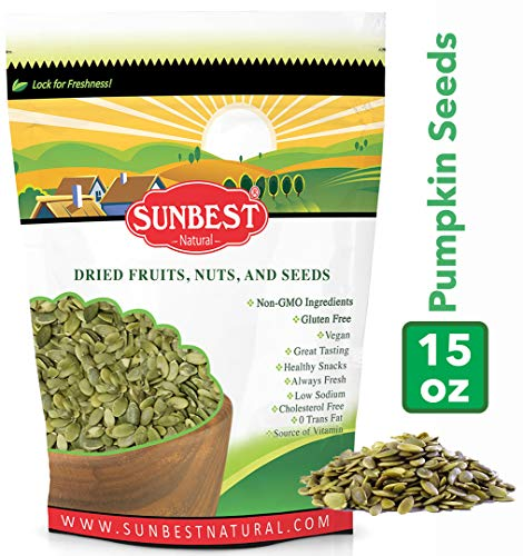 (SUNBEST Shelled Unsalted Raw Pumpkin Seeds / Pepitas Raw, No Shell, Pumpkin Seed Kernels (Raw, 1 Lb))