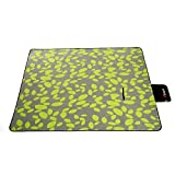 Large Picnic Blanket 3-Layers Waterproof Outdoor Fleece Blanket Portable Mat with Tote Great for Park Beach Travel Camping Sporting Events Outdoor Activities -59''x 79'' Green
