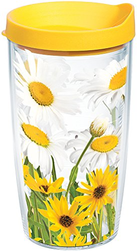 Tervis 1139276 White Daisies Tumbler with Wrap and Yellow Lid 16oz, Clear ()