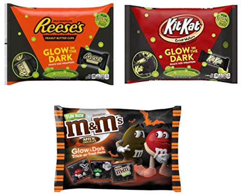 Glow in the Dark Halloween Chocolate Variety Pack - Kit Kat Reeses and M&Ms - Snack Size 9.35-17 Ounces