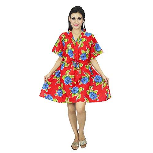 Tamaño Beach Cover Up Kaftan Boho hippy New Indian mujeres más del vestido de la túnica caftán regalo para ella Rojo y azul