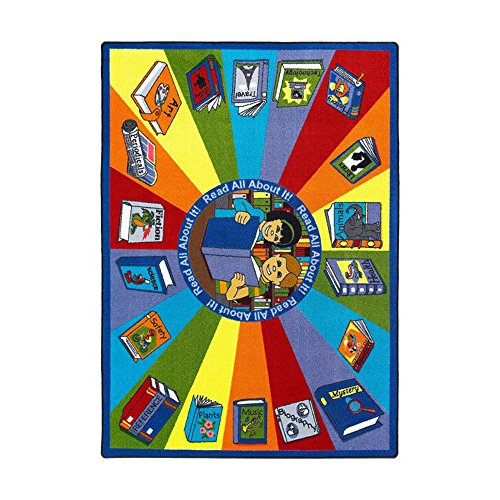 Joy Carpets Kid Essentials Language & Literacy Read All About It Rug, Multicolored, 5'4'' x 7'8'' by Joy Carpets