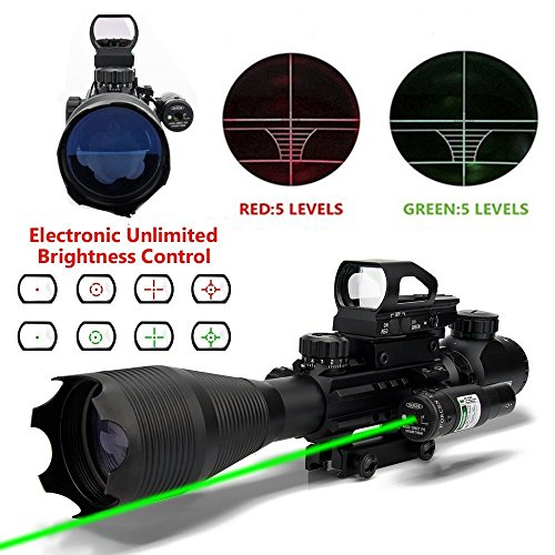 AR15 Tactical Rifle Scope 4-12&16 X50EG Red&Green Laser 4 Ho