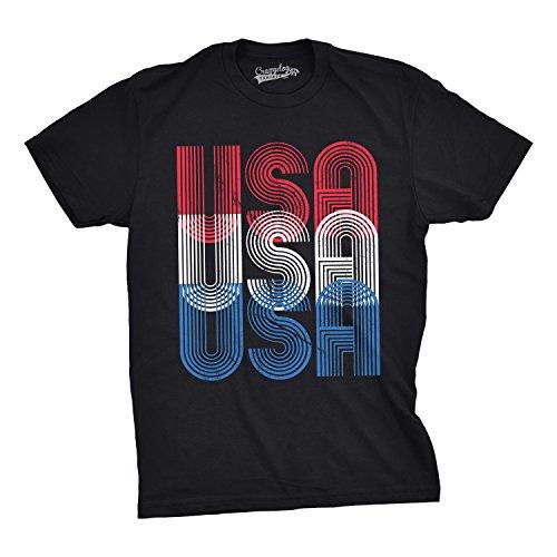 (Mens USA USA USA Funny T Shirts Red White Blue Retro Designs Cool Graphic T Shirt (Black) - L)