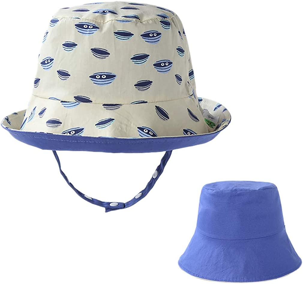 kuou Kids Sun Hat Cute Dinosaures UV Protection Bucket Hat with Adjustable Chin Strap for for Kids Girl Boy