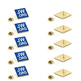 "JW.ORG Square Gold Lapel Pin Jehovah Witness - 1"" Square Blue Lapel Pin - JW.org Neck Tie Hat Tack Clip Women or Men Suits -10 Pack"