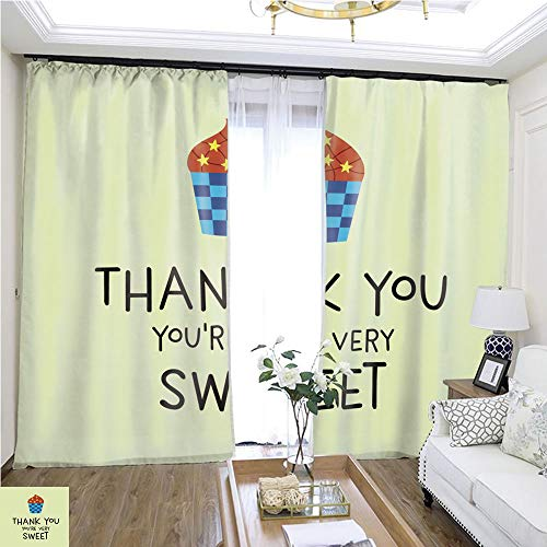 Christmas Curtain Cute Cupcake Thank You Card Vector Cute Muffin Thank You Card Vector W108 x L85 Darkened Insulated Living Room Curtains Highprecision Curtains for bedrooms Living Rooms Kitchens ()