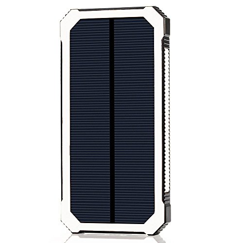 LANIAKEA 15000mAh Solar Charger, Waterproof Solar Power Bank Battery Pack, Dual USB Solar Panel Charger for iPhone, Samsung Galaxy, Smart Phones and Other USB Devices, White