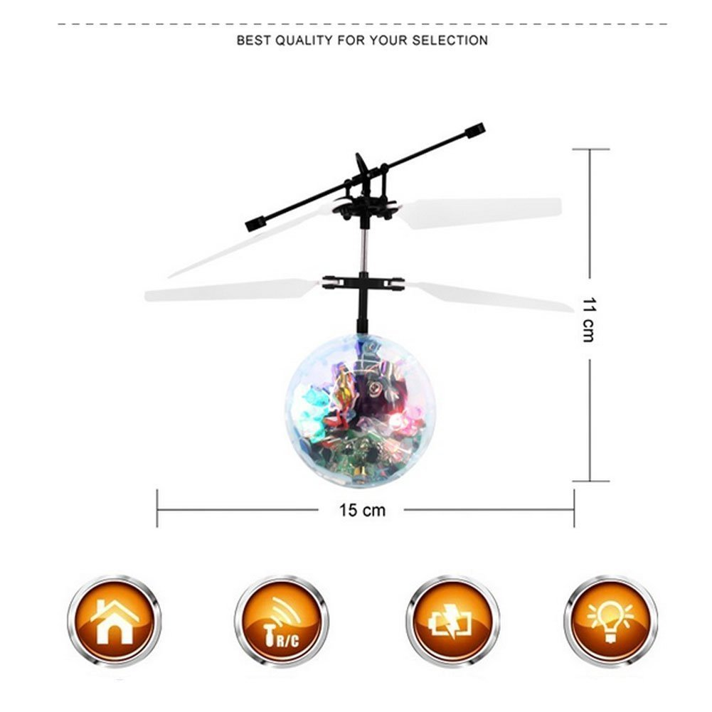 Hand Spinner Drone Helicopter Ball Built-in Shinning LED Flashing Light Aircraft Helicopter Induction Toy for Kids Teenagers Gifts for Indoor Outdoor Games Wekity RC Flying Ball Toys RC Flying Toy