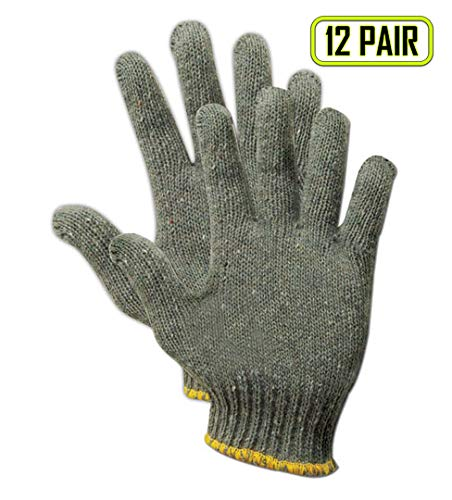 Magid Glove & Safety G178-AMZN  Greyt Shadow  G178 Knit Gloves, Cotton Poly Blend, Men's (Fits Large), Gray (Pack of - Cotton Gray Poly