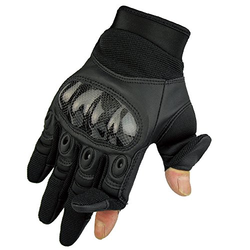 Fuyuanda Men`s Tactical Glove Outdoor Sports Full Finger Military Wear Resistant Hard Knuckles Palm Reinforcement for Motorcycle, Hunting, Shooting, Batting, Armor, Riding Black