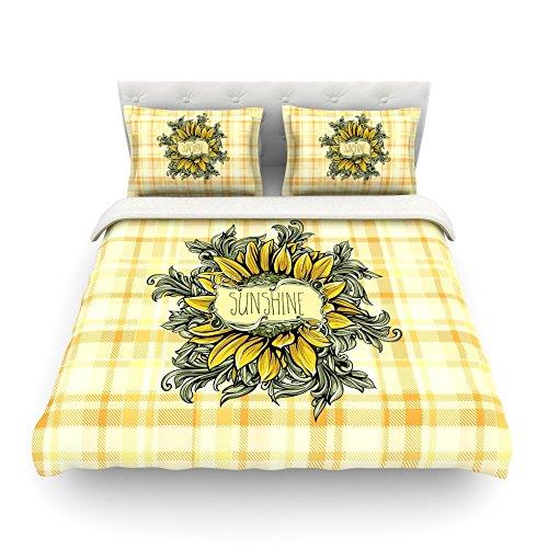 Kess InHouse Nick Atkinson Sunflower Sunshine Yellow Gold Cotton Queen Duvet Cover 88 x 88