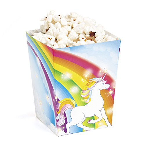 Fun Express Mini Unicorn Popcorn Treat Boxes 24 Pack Rainbow Magical Sparkle Snack Paper Box For Kids Birthday Party Favor Supplies Decorations