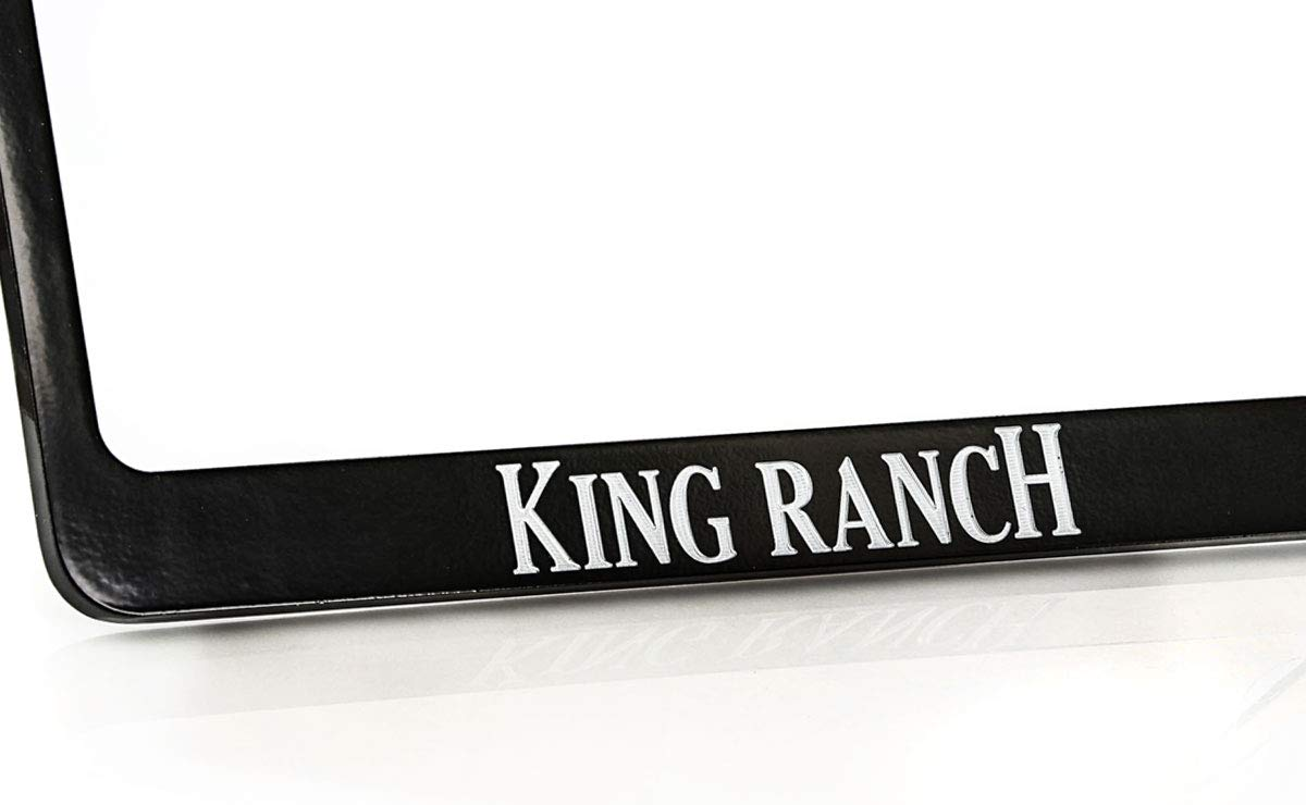 King Ranch Wordmark Black Coated License Plate Frame Holder Wide Bottom 2 Hole
