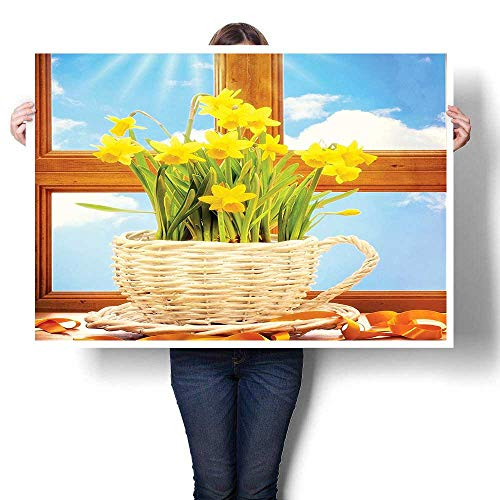 SCOCICI1588 Canvas Wall Art Romantic Oil Painting,Decor Wooden Windows Sky Classic Art Weave Basket for Kitchen Floral Bouquet Themed Oils,Prints on Canvas Painting,40