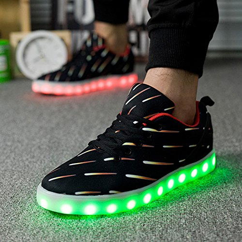 Mens Women LED Light up Lightning Shoes Sportswear Sneaker Luminous Casual Shoes 1616black pUCL1K6