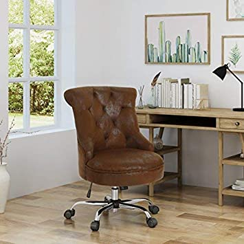Christopher Knight Home 304961 Tyesha Desk Chair, Brown Chrome
