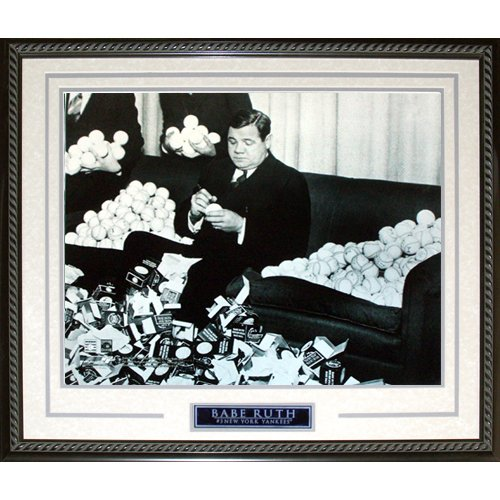 (Steiner Sports MLB New York Yankees Babe Ruth Signing Baseballs Framed 16x20 Photo)