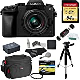 Panasonic DMC-G7KK Digital Single Lens Mirrorless Camera 14-42 mm Lens Kit, 4K + Starter Bundle + Transcend 64 GB High Speed 10 UHS3 + Polaroid 57 Tripod + Polaroid 46mm UV Filter + Battery + Bag