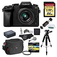 "Panasonic DMC-G7KK Digital Single Lens Mirrorless Camera 14-42 mm Lens Kit, 4K + Starter Bundle + Transcend 64 GB High Speed 10 UHS3 + Polaroid 57"" Tripod + Polaroid 46mm UV Filter + Battery + Bag"
