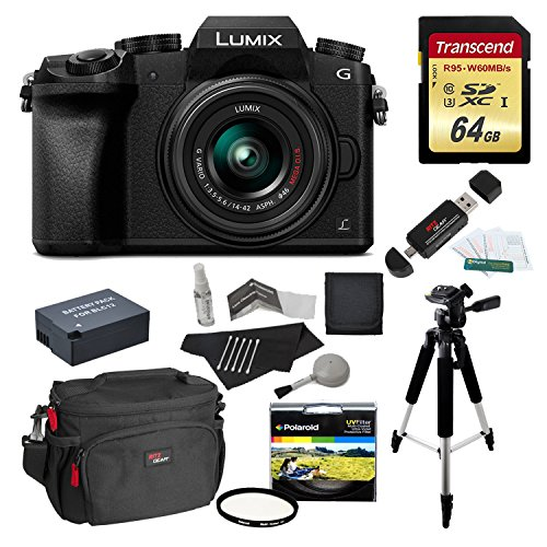 - Panasonic DMC-G7KK Digital Single Lens Mirrorless Camera 14-42 mm Lens Kit, 4K + Starter Bundle + Transcend 64 GB High Speed 10 UHS3 + Polaroid 57