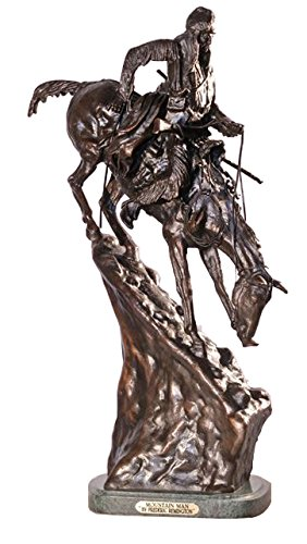 - American Handmade 100% Bronze Sculpture Statue Mountain Man By Frederic Remington Regular Size