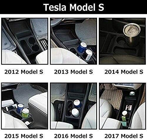 SODIAL Car Center Console Armrest Box Storage Box Cup Holder for Tesla Model X S 2012-17