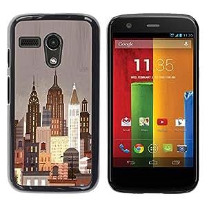 Be Good Phone Accessory // Dura Cáscara cubierta Protectora Caso Carcasa Funda de Protección para Motorola Moto G 1 1ST Gen I X1032 // New York City Art Deco Painting Lights Nyc