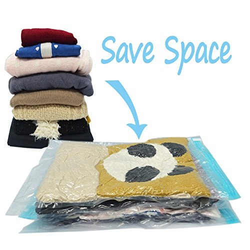 HomeIdeas 8 Packs Space Saver Portable Compressed Storage Bags, Simple Roll-up Zipper Packing Organizer Bags, No Vacuum Seal, PREMIUM QUALITY, Perfect for Home and Travel (Air Compressed Package compare prices)