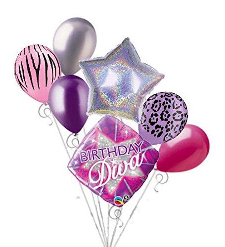 7 pc Happy Birthday Diva Balloon Bouquet Party Decoration Sparkles Purple Rose ()