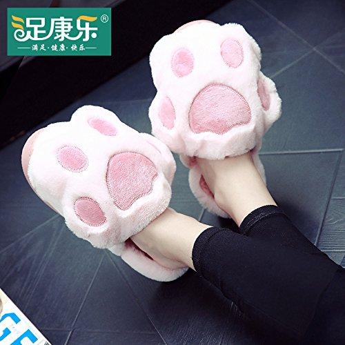 Cotone fankou pantofole inverno ladies home home interior scivoloso fondo spesso scarpe caldo carino scarpe di cotone con, 38-39 metri (uno piccolo iarde), rosa