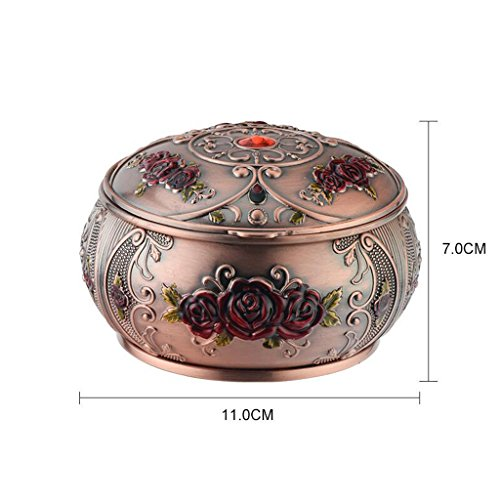 Price comparison product image Ashtrays Red Copper Safflower Cover Seal Zinc Alloy Personality Creative Stereo Carved Living Room Office 3D Carved Windproof DELICATEWNN