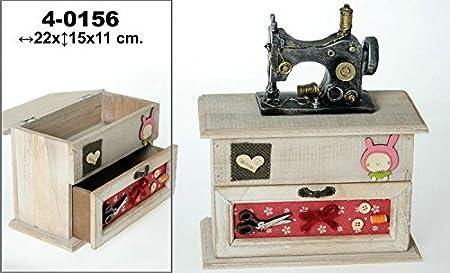 DonRegaloWeb – Caja de Costura – Couture-Forme de Caja de Madera Decorado con Muebles y una máquina de Coser con los Colores Diferentes: Amazon.es: Hogar
